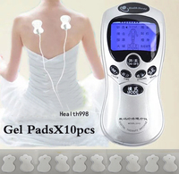 10pcs Pads Blue LCD Electronic Full Body Slimming Massager Burn Fat Pain Relief Digital Theray Massager