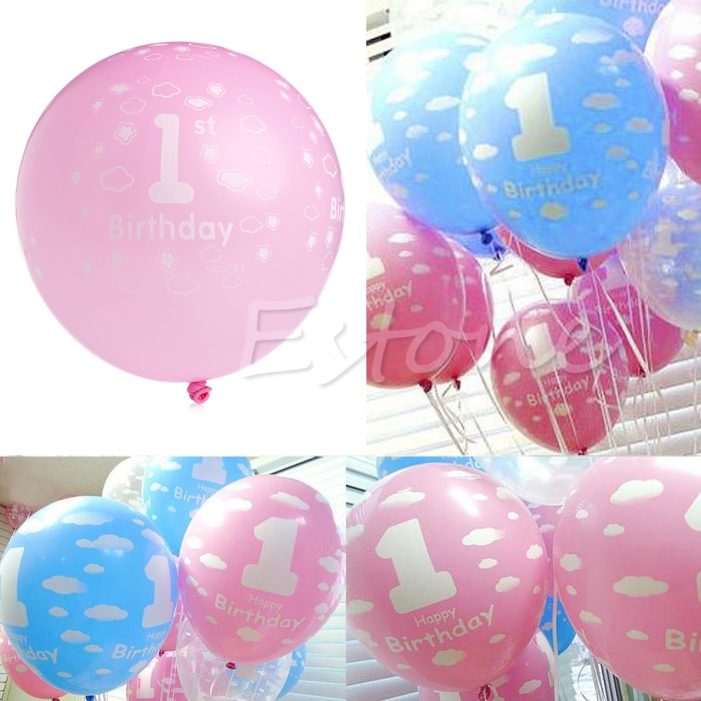 Baby boy christmas ornaments - 20 X Baby 1st Birthday Ballon Party Decor Girl Boy Printed Number 1 Ballons China