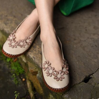 ФОТО 2017 Spring Women Flats Genuine Leather Flower Vintage Handmade Shoes Women Loafers Comfortable breathable soft bottom