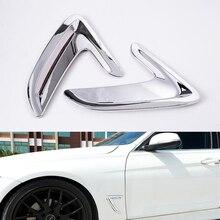 Подходит для BMW 3 серии F30 и GT 2013- Хром ABS Silver передней двери автомобиля крыло Воздушный поток Fender воздухозаборник крышка Стикеры