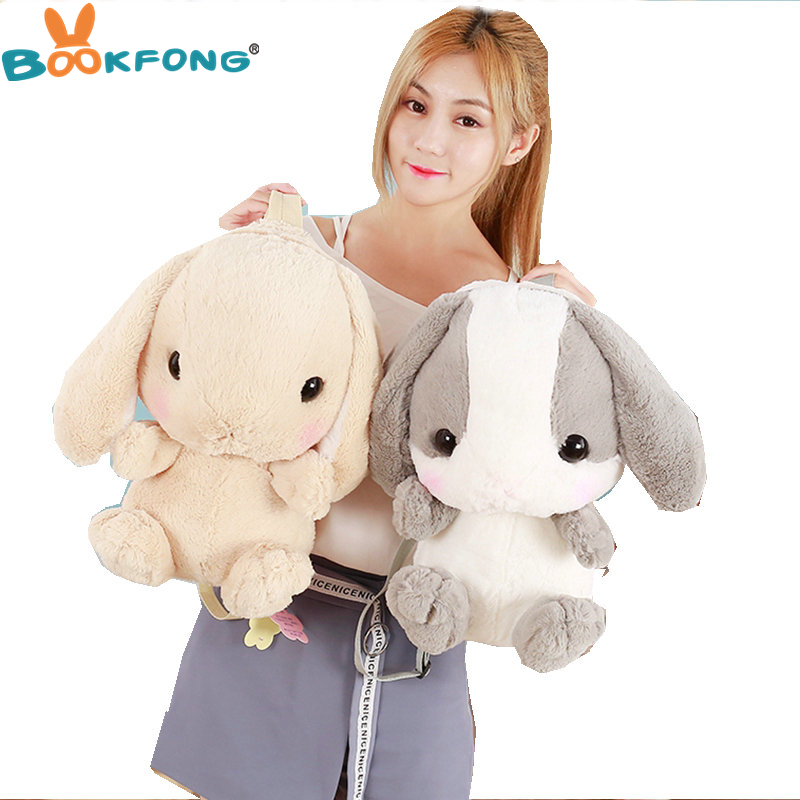 Kawaii Rabbit Plush Toy Soft Rabbit Shoulder Bag Stuffed Animal Toys Cartoon Rabbit Backpacks little rabbit animal series many chew toy