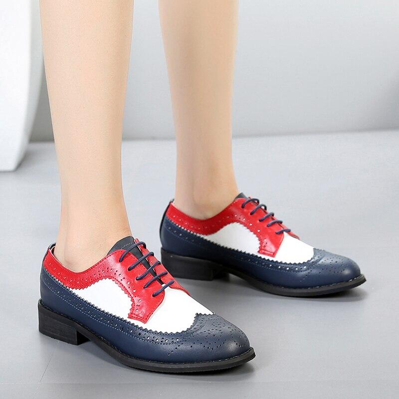100% Echtes Kuh Leder Brogue Casual Designer Vintage Dame Wohnungen Schuhe Handgemachte Oxford Schuhe Für Frauen Rot Blau Weiß Mit Pelz