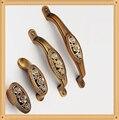Único Buraco Botão CC 64mm/96mm/128mm quarto gaveta puxa Cozinha Móveis Handle antique Europeia com Rose Carving