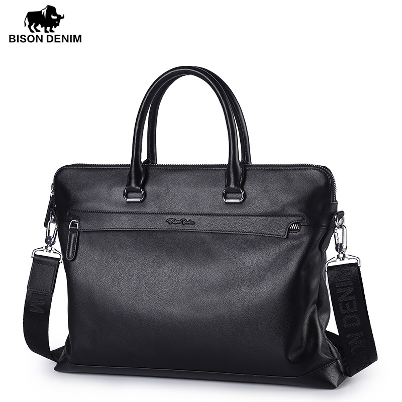 BISON DENIM Genuine Leather Men Bag Famous Brand Shoulder Bag Messenger Bag Causal Handbag 14 inch Laptop Briefcase Male N2629 bvp free shipping new men genuine leather men bag briefcase handbag men shoulder bag 14 laptop messenger bag j5