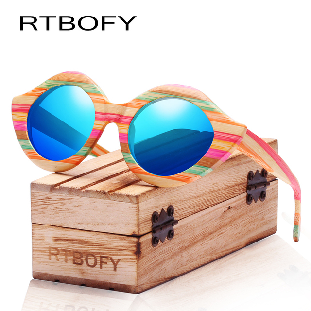 cb03b3f0c7 RTBOFY Wood Sunglasses Women Colorful Bamboo Frame Lip Style Glasses  Polarized Lenses Glasses Vintage Design Shades