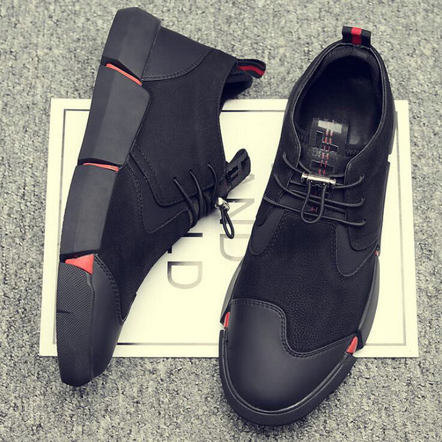 NEW Brand High quality all Black Men's leather casual shoes Fashion Breathable Sneakers fashion flats  big plus size 45 46 LG-11 1