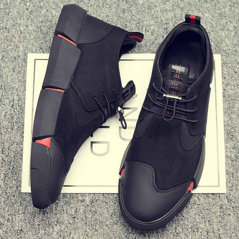 8e5d34231a6bd ... NEW Brand High quality all Black Men's leather casual shoes Fashion  Breathable Sneakers fashion flats big ...