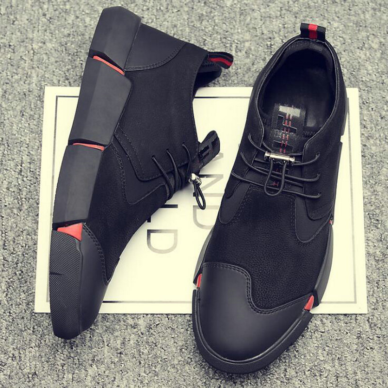 all Black Men's leather casual shoes