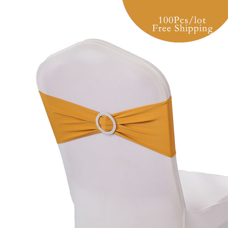 100PC Lot Wedding Decoration Spandex lycra Chair Bands with round Buckle Spandex chair sash for wedding
