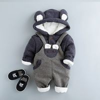 Winter 2Pcs Outfit Baby Boys Set Girls Thick Sets Infant Warm Hooded Coats+Bib Pants Suits Newborns Toddler Clothing Sets G317