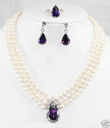 Hot Fashion Jewellery set Beautiful 3Rows white pearl & amethyst pendant Wedding/Bridal Necklace earring  ring Set free shipping