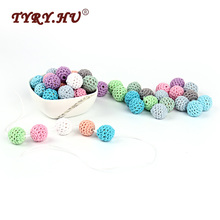 TYRY HU 10Pcs Natural Wooden font b Crochet b font Beads Chewable Tooth Nursing Necklace Teething