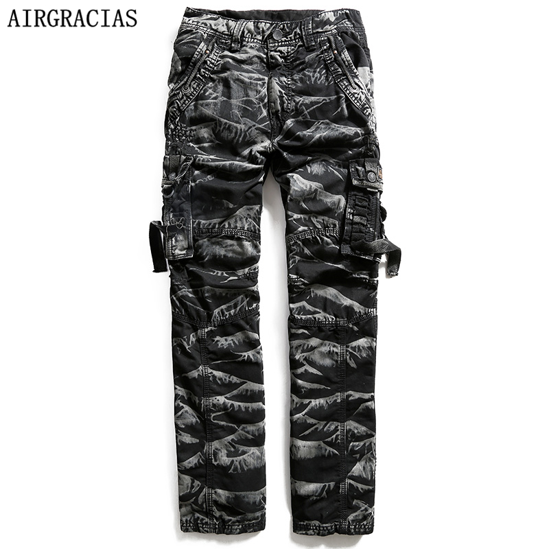 AIRGRACIAS Mens High Quality Military Cargo Pants Brand Clothing Mens 100% Cotton Camouflage Long Trousers Size 29-40 3235
