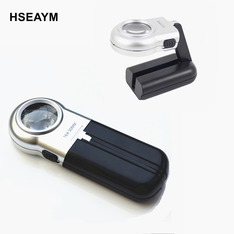7006A 16X 30mm With LED Folding Magnifier Hand Hold Bracket Reading Jewelry mirror Magnifying Glass Loupe