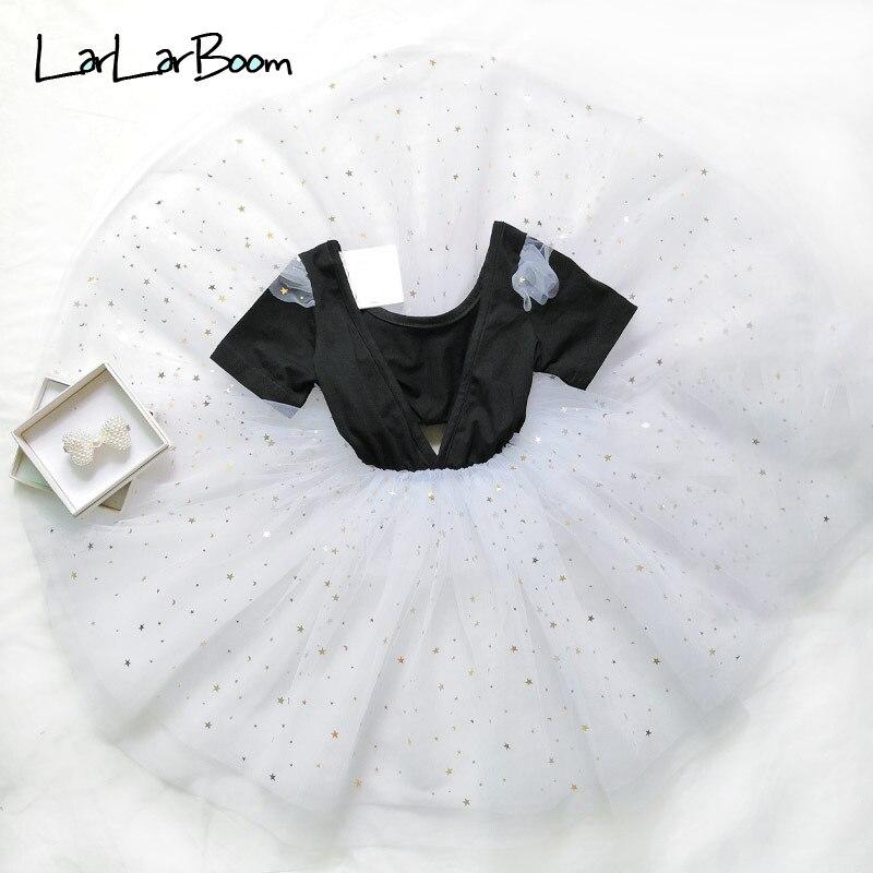 LarLarBoom Girl Dress 2019 Summer Short Sleeve Kids Dresses for Girl Backless Deep V-neck Star Full Dress Fashion Children Dress