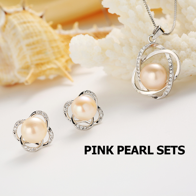 Top Quality Trendy Cross 925 Sterling Silver Jewelry Sets Pendant Necklace & Earring Big Pearl Pendant Earrings For Women Gift