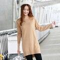 Плюс Бюст (88 см-108 см) свободные Топы Весна Длинный Свитер Женщин Кашемир Трикотажные Пуловеры Платье женский Стандартный Трикотаж
