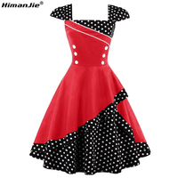 HimanJie Vintage Spring Patchwork Dress Women Polka Dots Button Black 1950s Dresses Zipper Elegant Summer Female