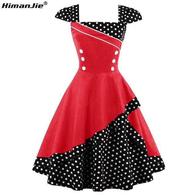 Himanjie Plus Size 4xl Vintage Patchwork Dress Women Polka Dots