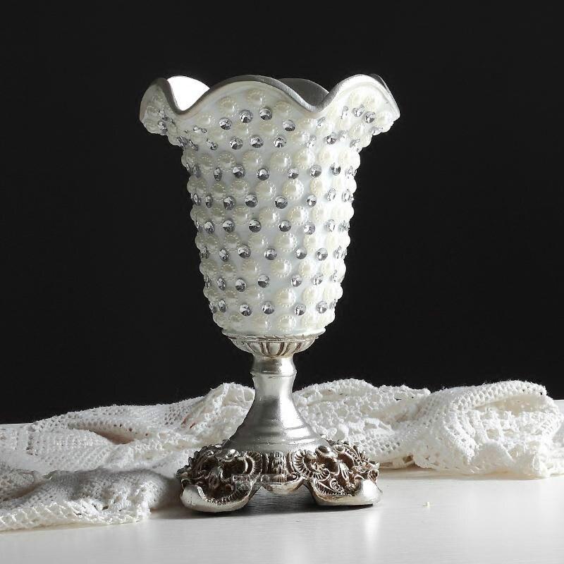 New Desgin Diamond European Creative Resin Silver Tall Wedding Vases High grade Fashion Decoration Living Room Table Flower Vase