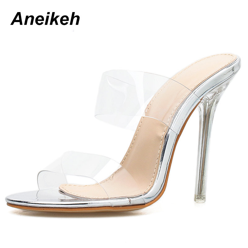 Aneikeh Women s Shoes Clear High Heels Shoes Transparent Sandals PVC Pumps  Summer Hollow Slides Ladies Peep Toe Sandalias mujer-in High Heels from  Shoes on ... 11051459319a