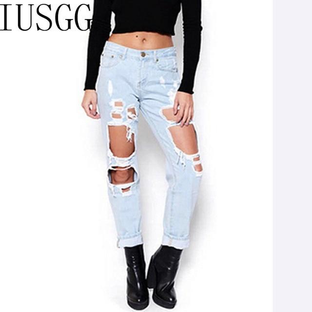 1588691c760106 Foro di Stile dei jeans Boyfriend Jeans Strappati Jeans Delle Donne  Pantaloni In Denim Fresco Vintage