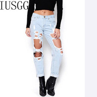 Jeans Boyfriend Style Hole Ripped Jeans Women Pants Cool Denim Vintage Straight Jeans For Girl High Waist Casual Pants Female