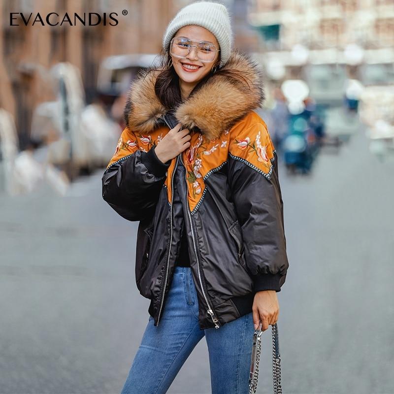 Вышивка с коротким черным мехом капюшоном зимняя куртка Женская куртка-парка пальто теплый толстый корейский цветочный лоскутное вниз хло...