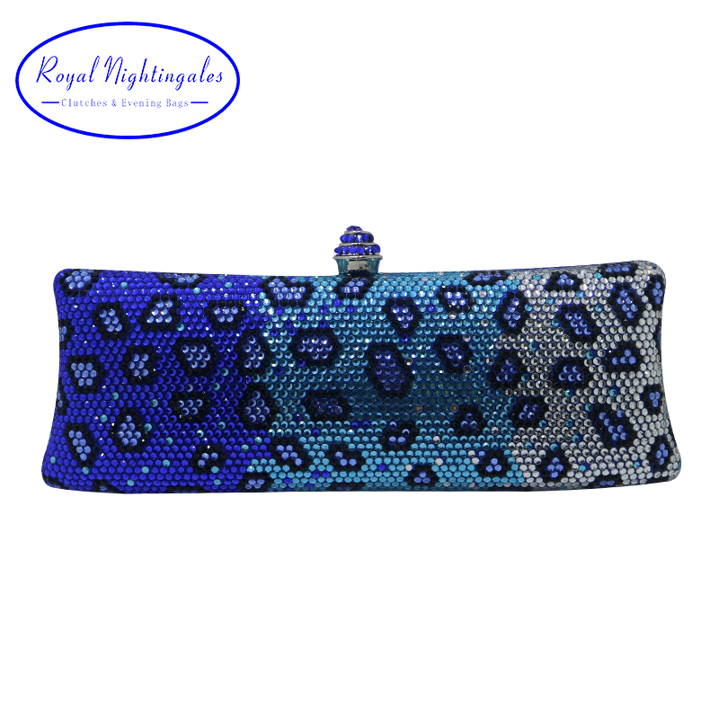 Royal Nightingales Luxury Blue Party Evening Bags and Clutches with Crystal Rhinestone for Womens Party Wedding