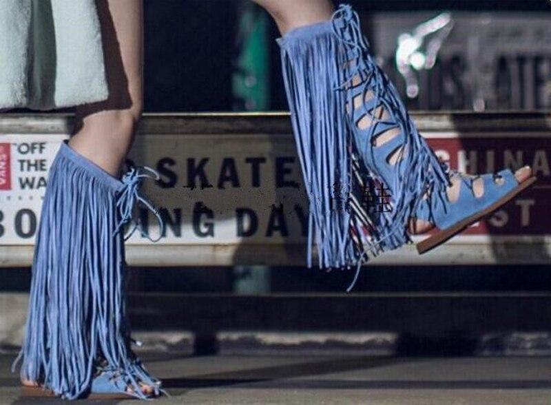 Nouveau Conception Plat Bleu Femmes Genou Bout Gladiateur Design Bottes Haute Glands Cuir Sandales Mode Ouvert Daim En rgrSxA