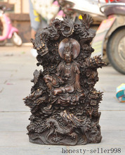 wedding decoration 16China buddhism temple bronze 5 Dragon kwan-yin GuanYin Goddess Buddha Statue