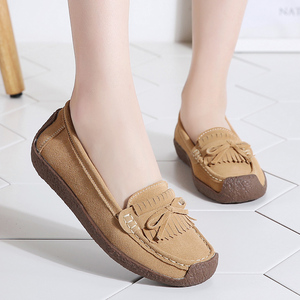 Image 2 - Women Suede Leather Loafers Women\x27s Slip\x2don Shoes High Quality Comfortable Shoes Woman Flats Sneakers Woman Schoenen Vrouw