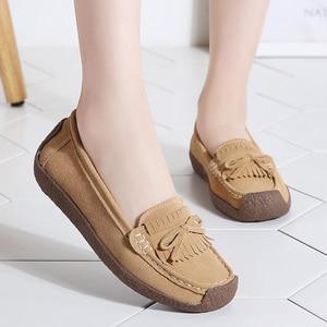Image 2 - 여성 스웨이드 가죽로 퍼스 여성 \ x27s 슬립 \ x2don 신발 고품질 편안한 신발 여성 플랫 스니커즈 여성 schoenen vrouw