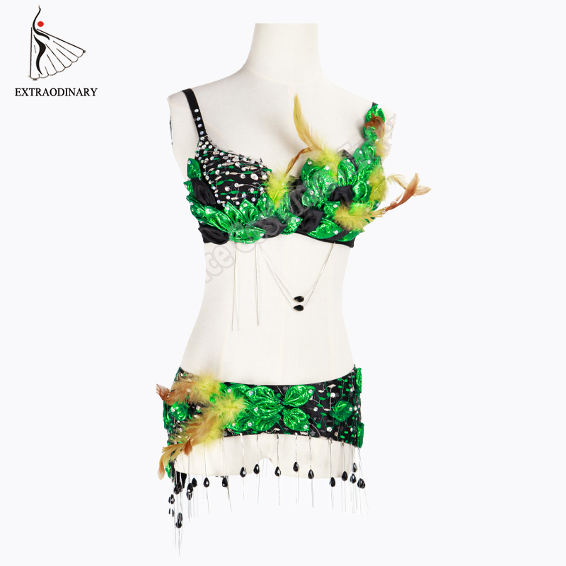 New Belly Dancing Costumes 2 Pcs Outfit Feather Dance Clothing Rhinestone Bra beaded belts For Women