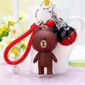 Ball Bell KeyChain Leather Braided Rope Keychain Animal Brown Bear Keychain Woman Key Holder Chain Ring Charm Bear Doll Keyring