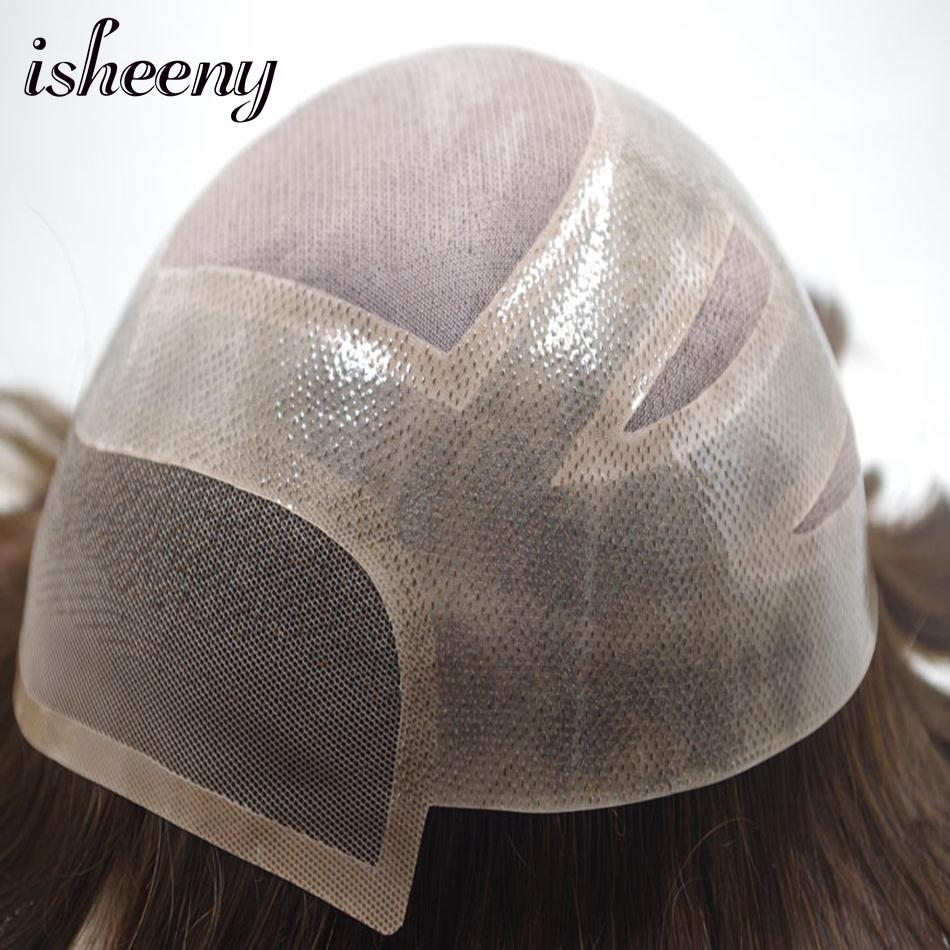 Isheeny 120% MONO Mens Toupee 1B# 2# Indian Remy Human Hair With Natural Hailine Breathable Mono Net Men Toupee Wigs