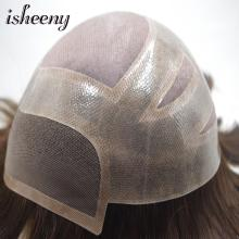 Isheeny 120% MONO Mens Toupee 1B# 2# Indian Remy Human Hair with Natural Hailine Breathable Mono Net Men Wigs