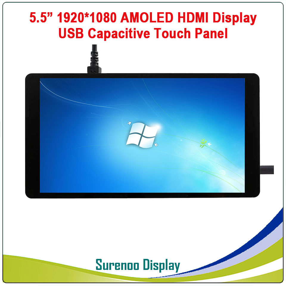 5 5 inch 1920 1080 AMOLED OLED HDMI LCD Module Screen Display Minitor with USB Capacitive