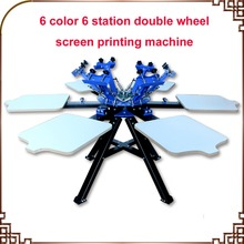 FAST and FREE shipping! 6 Color 6 station Screen Printing Machine Press t-shirt printer equipment carousel недорго, оригинальная цена