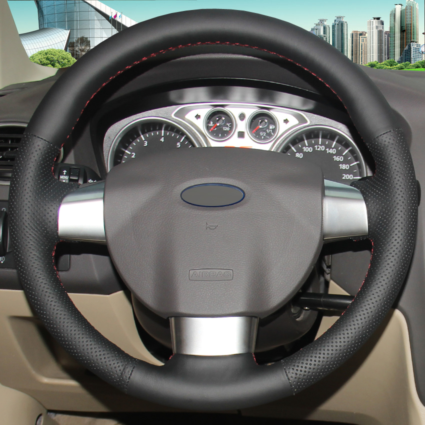 Black Leather Hand-stitched Car Steering Wheel Cover for Ford Focus 2 2005-2011(3-Spoke) Focus 3 Focus RS 2008-2011