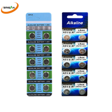 10pcs/card AG13 LR44 357 Button Batteries R44 A76 SR1154 LR1154 Cell Coin Alkaline Battery 1.55V G13 For Watch Toys Remote