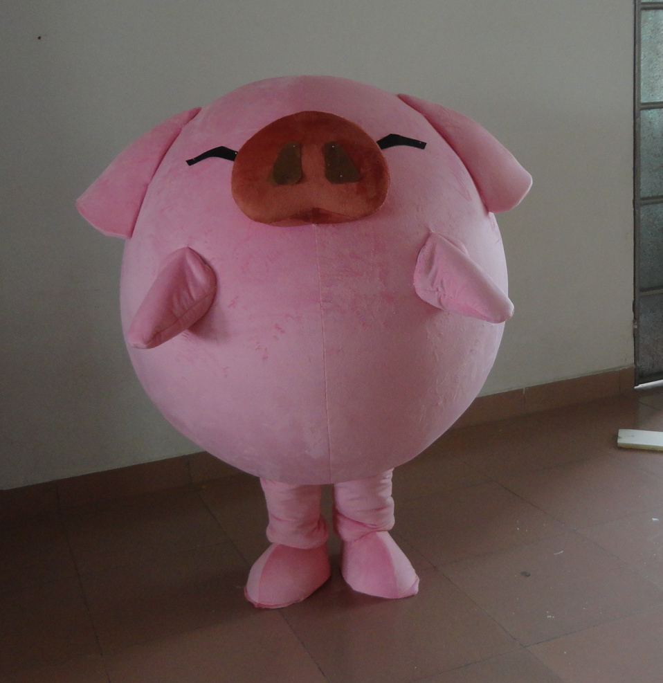 pink pig Mascot Costume Cartoon Character Party Dress Costume for Halloween party