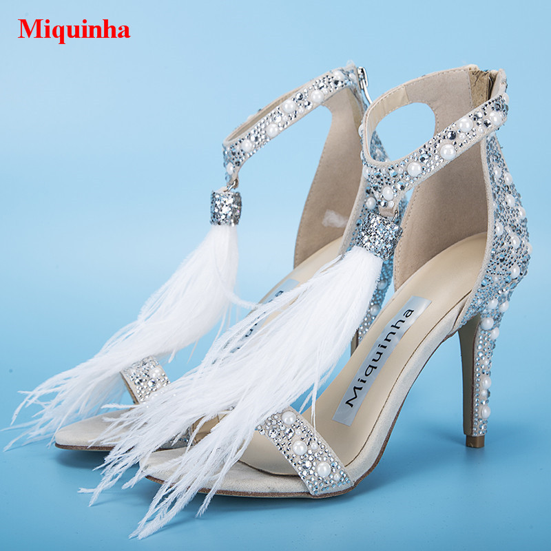 Pearls Sexy Pumps Girl White Feather Crystal Women Party Wedding