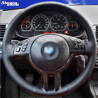 Shining wheat Hand stitched Black Genuine Leather Car Steering Wheel Cover for BMW E39 E46 325i E53 X5