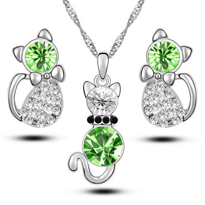 H:HYDE New Listing cute animal little cat 2 Colors Czech jewelry set Fashion classic atmosphere for girls