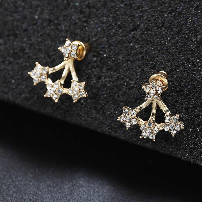 Minimalist Jewelry Rhinestone Earrings Star Heart Pendant Necklace Choker Elegant Collar NE+EA Fashion Jewelry For Women