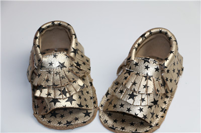 wholesale 20pairs/lot gold star new baby moccasins soft genuine leather Anti-slip infant first walker Footwear baby boy Shoes