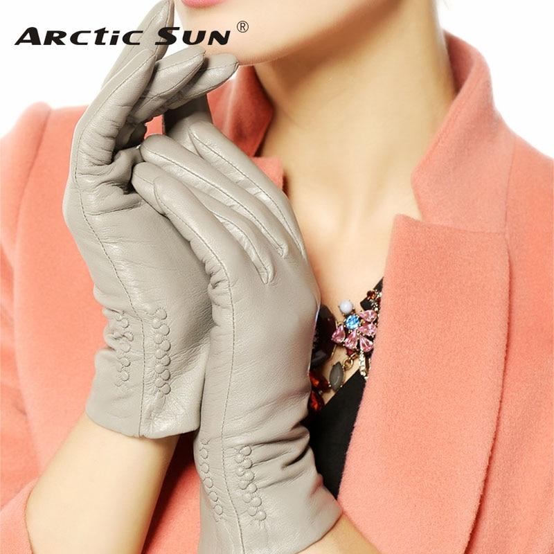النساء قفازات 2019 الحرارية لينة اصطف الشتاء جلد طبيعي قفاز L013NC القفازات المعصم الصلبة الأزياء خلع الملابس شحن مجاني