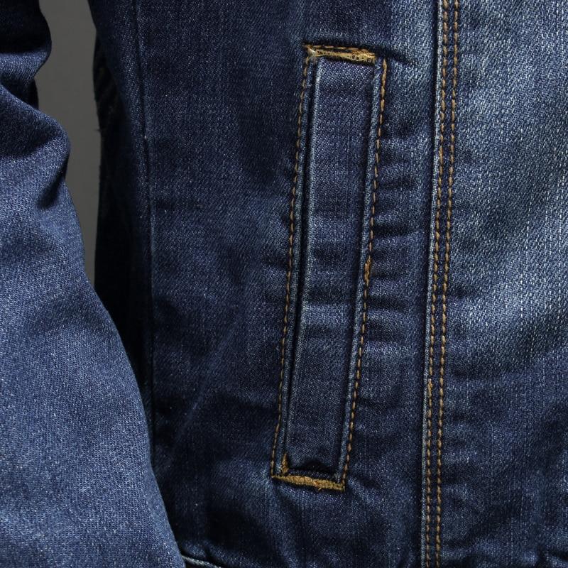 Classique Fit Outwear Moto Mâle Camionneur Rétro Col Lavé Taille Montant Blue La Plus Veste Jeans Denim Manteau Casual Slim Hommes Biker 1ra17xZ