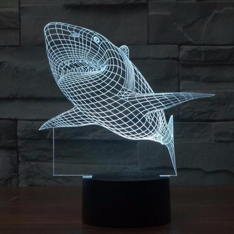 3d Led Light Night Creative Shark Kids Table Lamp Hologram Illusion Bedroom Living Room 7 Colors Usb Led Light Lamp